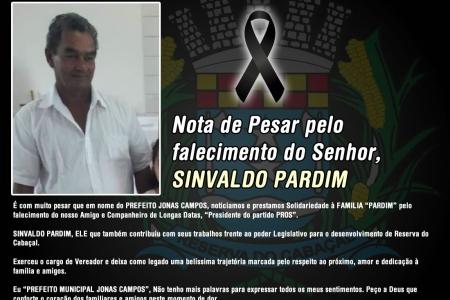 Nota de Pesar pelo falecimento do Senhor SINVALDO PARDIM