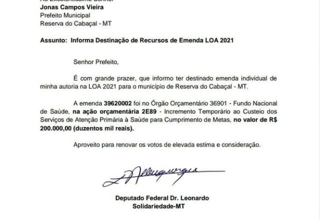 Reserva do Cabaçal recebe emenda parlamentar do Deputado Federal Dr.Leonardo com recursos destinados a Saúde