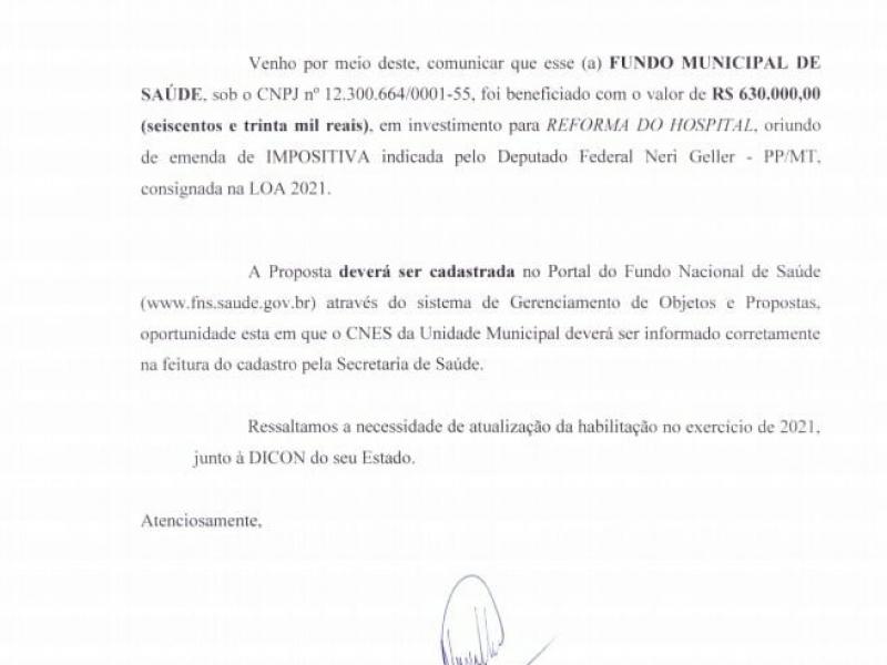 Deputado Federal NeriGueller Direciona 630.000,00 reais de suas emendas impositivas para a reforma do Centro de Saúde Adalto Ribeiro